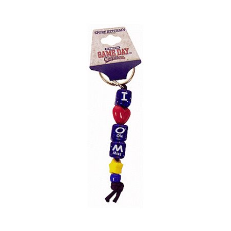 Beaded Keychain (University of Mississippi I Love Ole Miss Bead)