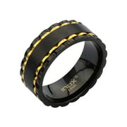 Inox Stainless Steel Alternate Black IP and Gold IP Spinner Ring.. Avaialbe Sizes: 9 - 13