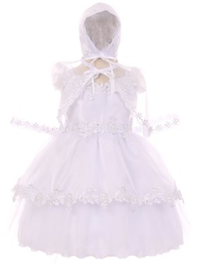 b42520104f67 Product Image BNY Corner Off Shoulder Organza Cape Set Infant Baptism  Christening Girl Dress White 0M TR 032