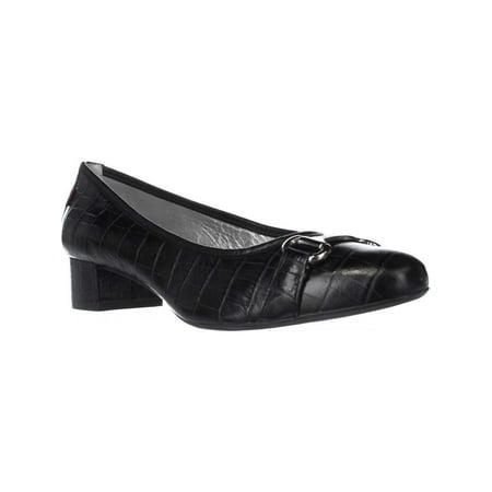Womens Marc Joseph Madison Pump Kitten Heel Dress Pumps, Black Croco