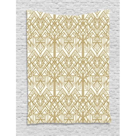 Geometric Tapestry, 1920s Style Futuristic Retro Mix Vertically Symmetrical Design, Wall Hanging for Bedroom Living Room Dorm Decor, 60W X 80L Inches, Pale Brown and Off White, by Ambesonne - 1920s Room Decor