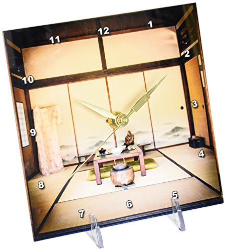 3dRose Japanese Dining Area, Desk Clock, 6 by 6-inch by 3dRose