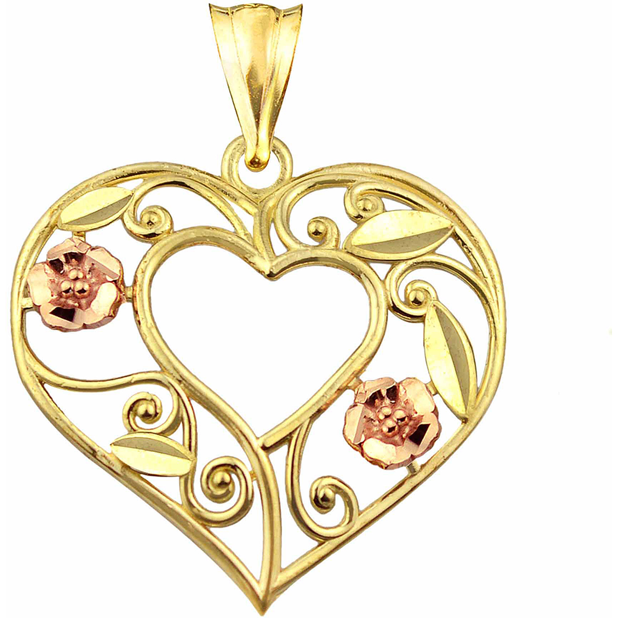 US GOLD 10kt Gold Open Heart with Flowers and Leaves Design Charm Pendant