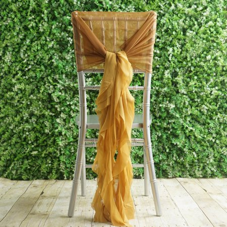 Efavormart 1 Set Premium Designer Curly Willow Chiffon Chair Sashes For Home Wedding Birthday Party Dance Banquet Decoration - Red Bachelorette Sash