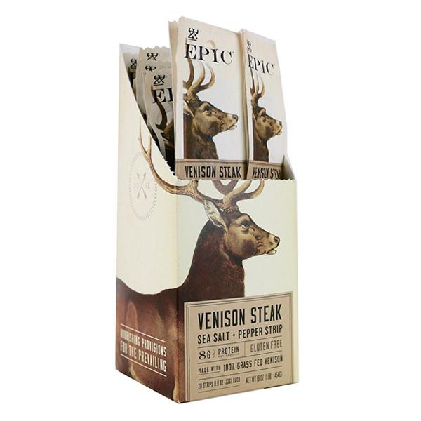 Epic Sea Salt & Pepper Venison Steak Strips 0.8 oz Pack of 20 by