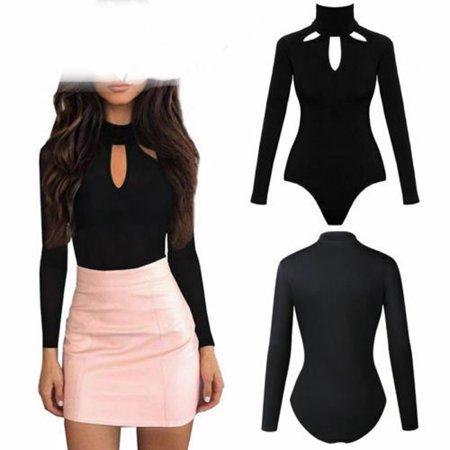 Dress Shirt Bodysuit (Women Sexy Skinny Long Sleeve Turtleneck Romper Ladies Autumn Solid Black Jumpsuit Bodysuit Stretch Leotard)