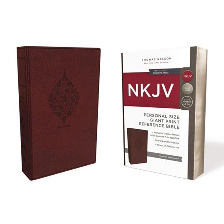 NKJV, Reference Bible, Personal Size Giant Print, Imitation Leather, Burgundy, Red Letter Edition, Comfort