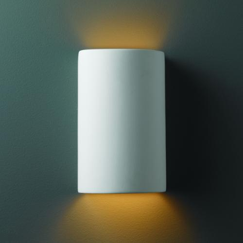 Justice Design Group Small Cylinder Ceramic Bisque 1 Light Wall