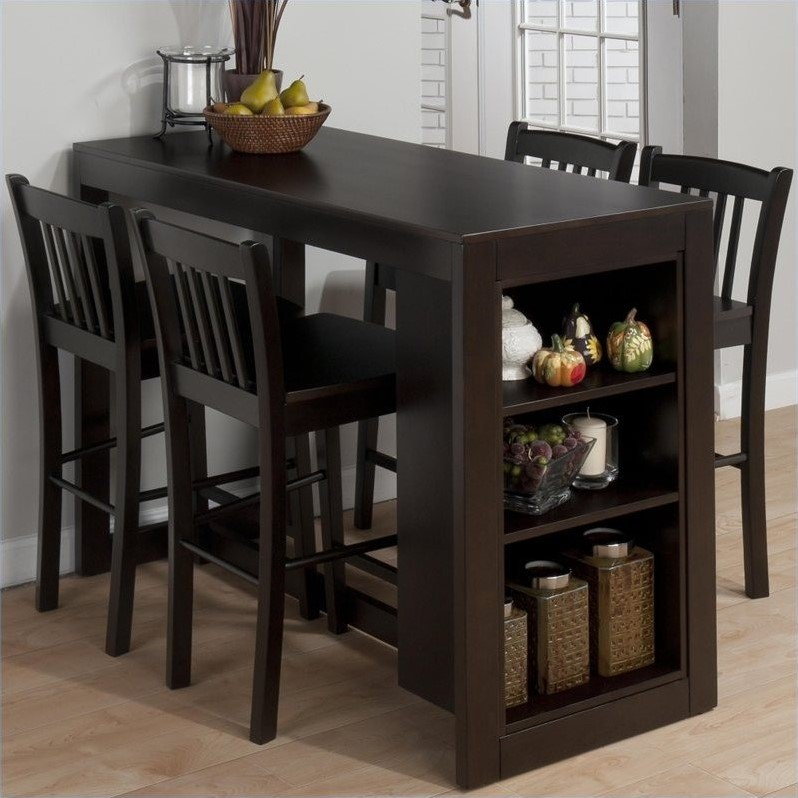 Jofran 5 Piece Counter Height Storage Dinette in Maryland Merlot