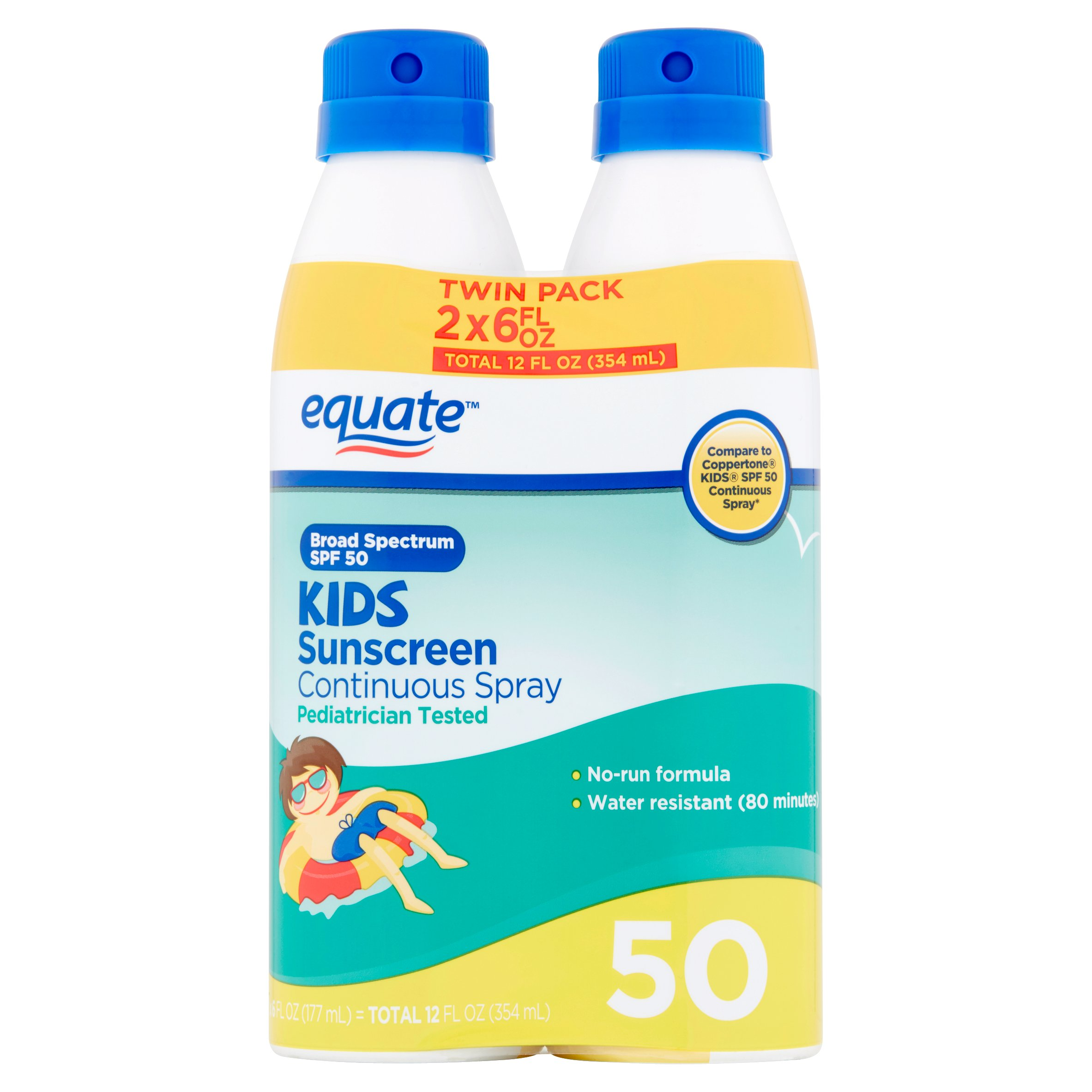 Equate Kids Sunscreen Continuous Spray Broad Spectrum, SPF 50, 6 Fl Oz, 2 Pk