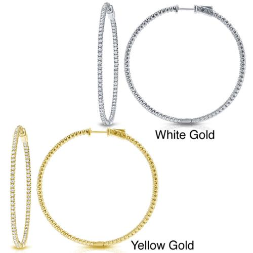 Auriya 14k Gold 5ct TDW Large Inside Out Diamond Hoop Earrings J-K, I1-I2 - Yellow