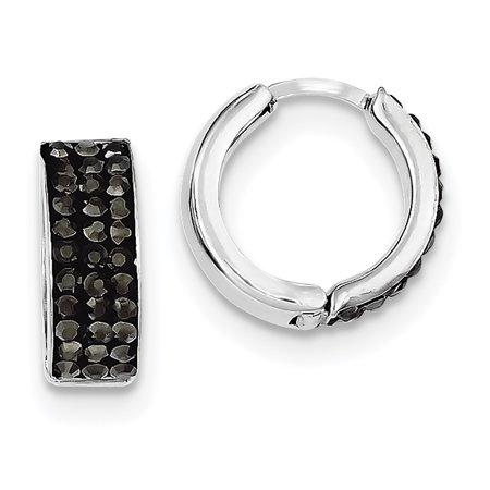 Crystal Hinge - 925 Sterling Silver Charcoal Preciosa Crystal Small Hinged Hoop (15x15mm) Earrings