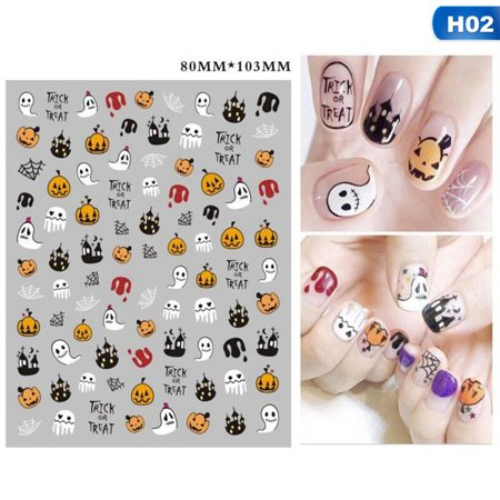 Simple Halloween Designs For Nails (Fancyleo Lovely 1 Sheets Halloween Water Transfer Nail Art Stickers Decals Pumpkin Skull)