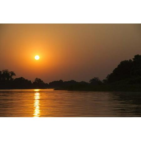 Sunrise on Cuiaba River, Northern Pantanal, Mato Grosso, Brazil Print Wall Art By Pete Oxford