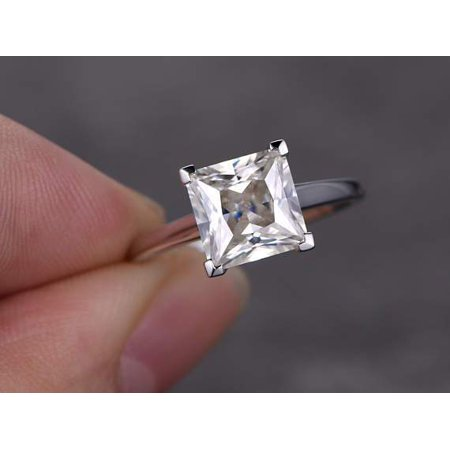 1 Carat Real Moissanite and Diamond Engagement Ring in 18k Gold Over Silver ()