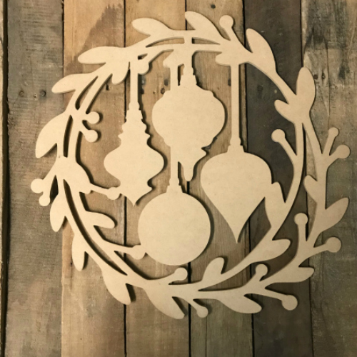 Holly Wreath with Christmas Ornaments (MDF) Cutout, Unfinished Paintable Cutout