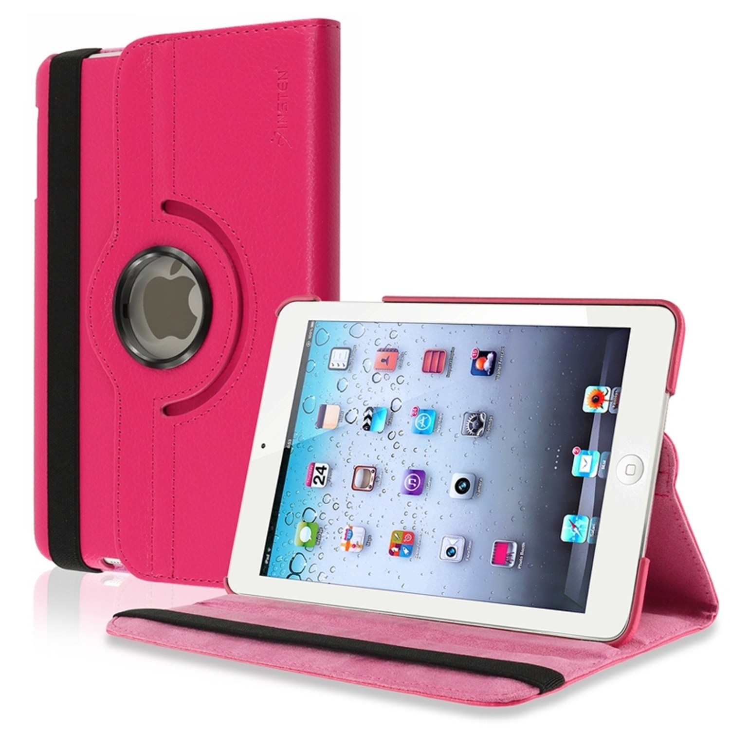 Insten 360-degree Swivel Leather Case For Apple iPad Mini 3 3rd / 1 1st / 2 2nd with Retina Display, Hot Pink