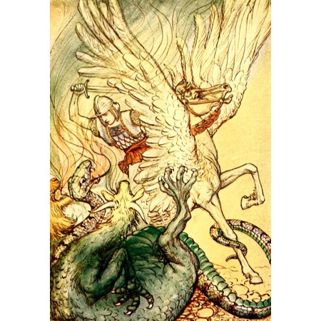 A Wonder Book For Girls   Boys 1913 Bellerophon Made A Cut At The Monster Poster Print By  Milo Winter