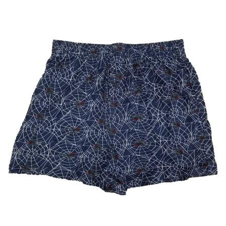 Mens Navy Blue Halloween Black Widow Spider Webs Knit Boxer Shorts