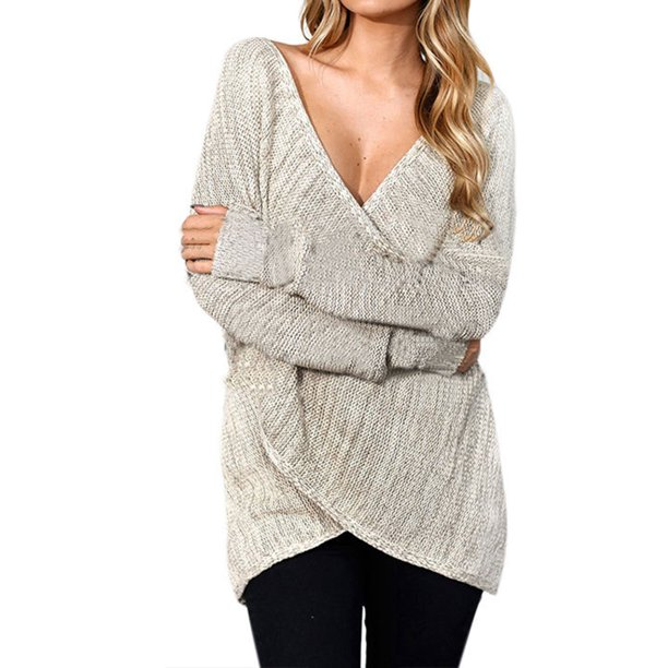Women Casual Front Cross Knitted V Neck Sweater Jumper Long Sleeve Pullover Baggy Knitwear Cardigan Coat Outwear Knit Tops Blouse