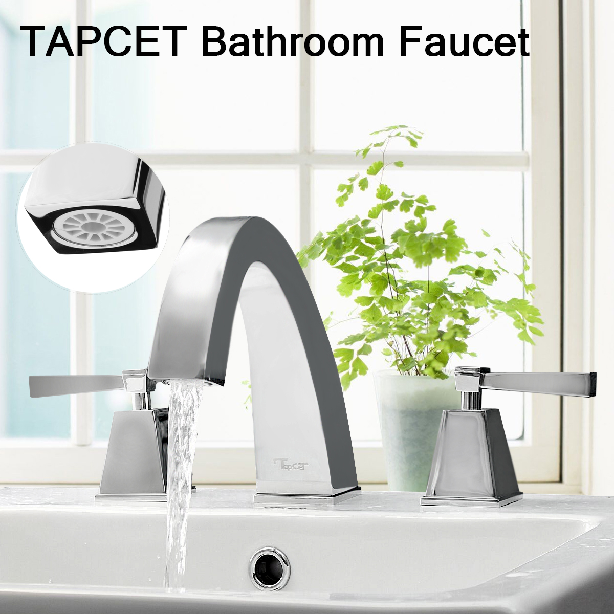 TAPCET Modern Chrome Bathroom Polished Two Faucets Handles 3 Hole Sink  Faucet Mixer Taps