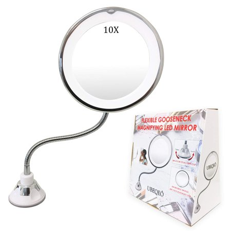 UBEQEÔ 10X Magnifying Makeup Mirror with Light | Adjustable Gooseneck Suction Cup | The Bathroom Vanity with Lights has a Bright LEDs Perfect for Wall Mounted (10X (Windisch Suction Pad Mirror)