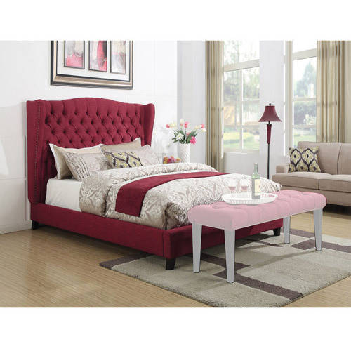 ACME Furniture Faye Red Linen King Bed
