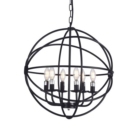"Wideskall 20"" Modern Round Sphere Black Iron Wire Frame Hanging Chandelier Ceiling Light 6-Bulbs Lighting Fixture, UL Certificated"