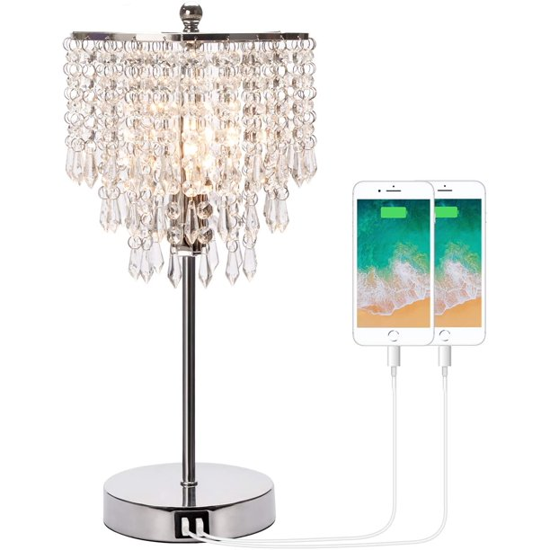 Touch Control Crystal Table Lamp With, Bedside Table Chandelier Lamps