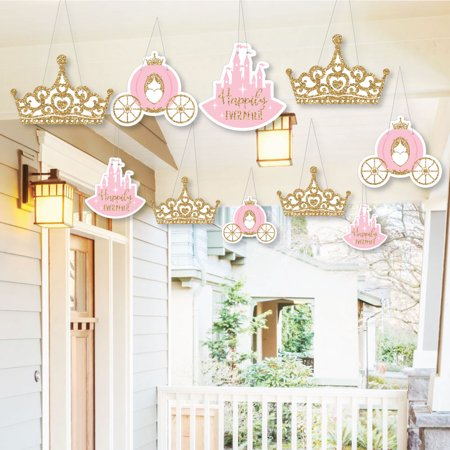 Hanging Little Princess Crown - Outdoor Baby Shower or Birthday Party Hanging Porch & Tree Yard Decorations - 10 Piece (Princess Baby Shower Decorations)
