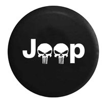 Jeep Punisher Skulls Spare Tire Cover Vinyl Black 27.5 in