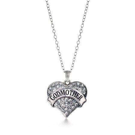 (Godmother Pave Heart Necklace)