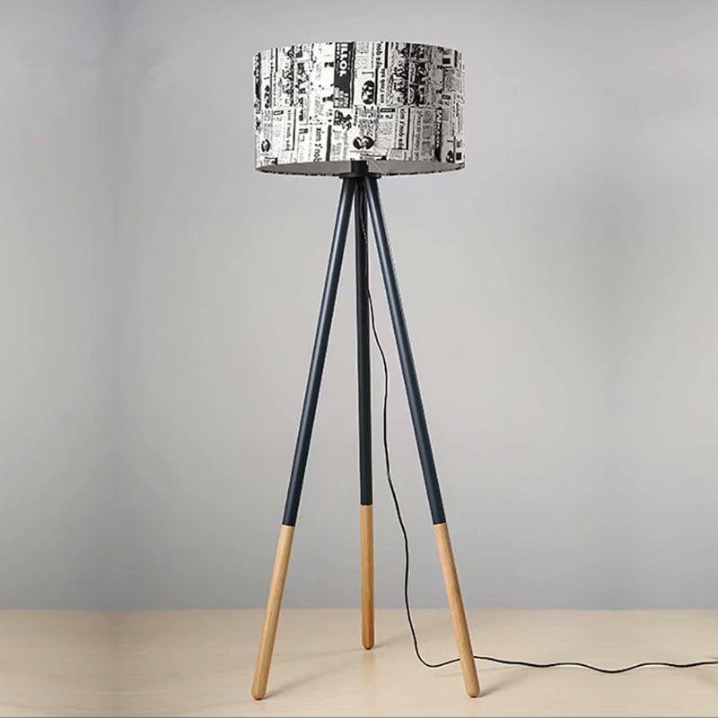 Round Wood Tripod Led Floor Lamp Modern Living Room Standing Light For Bedroom Or Office Walmart Com Walmart Com