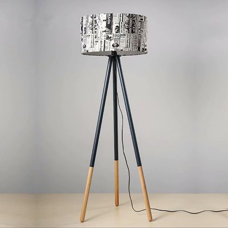 Tripod Led Floor Lamp Mid Century Modern Living Room Standing Light Tall Contemporary Drum Shade For Bedroom Or Office