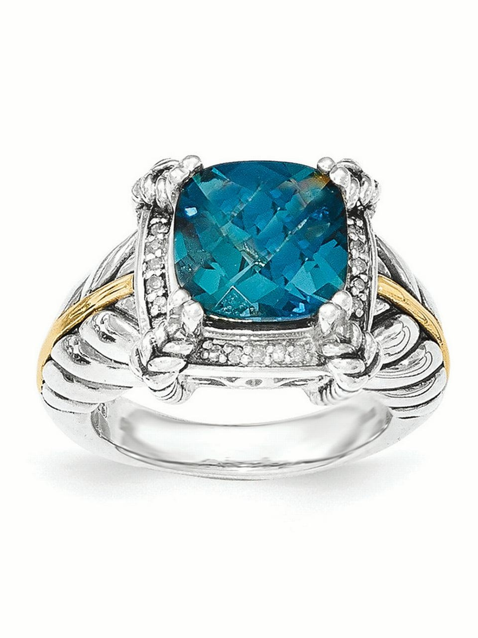 Sterling Silver with 14k 4.50Swiss Blue Topaz Ring