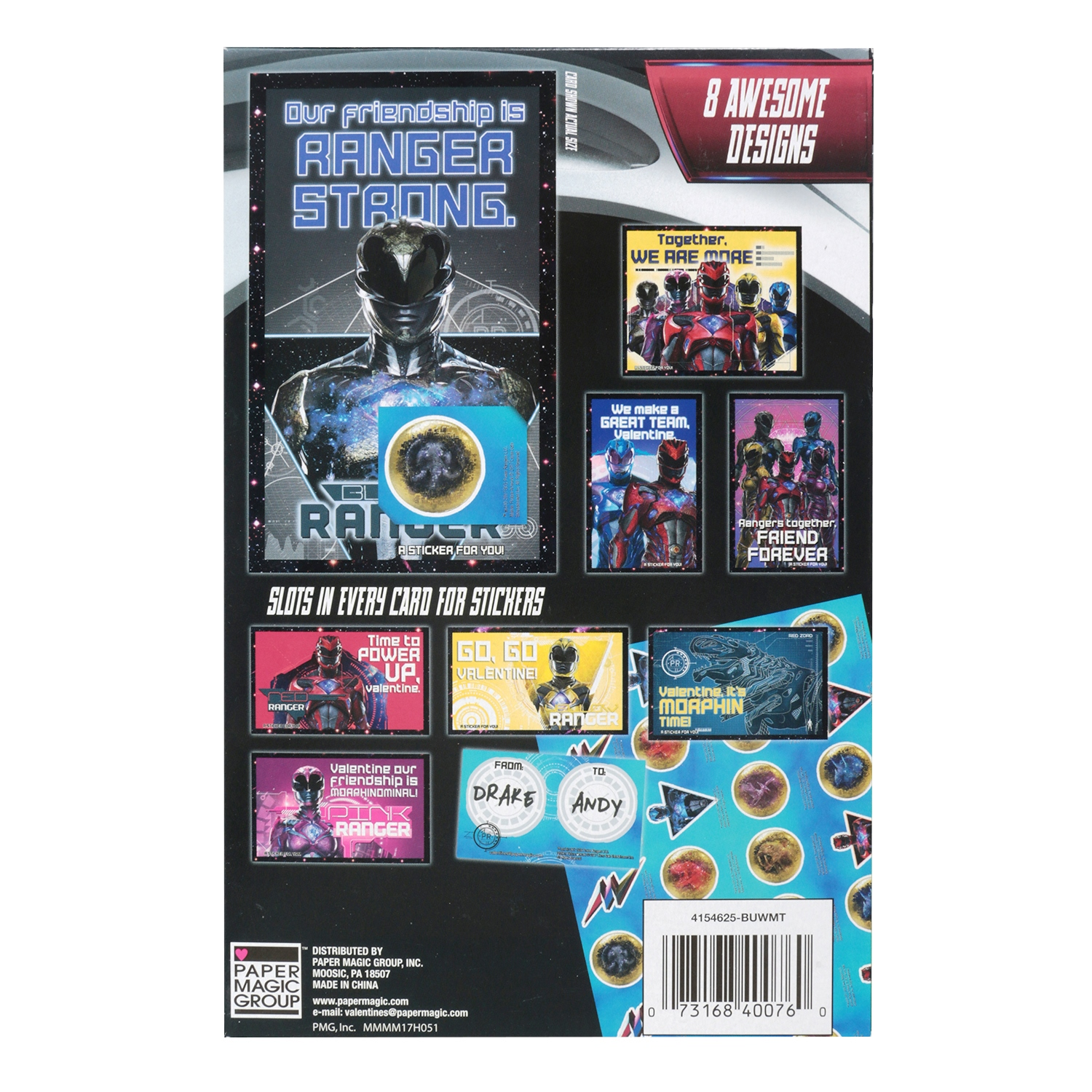 32ct power rangers valentine cards with stickers walmart m4hsunfo Gallery