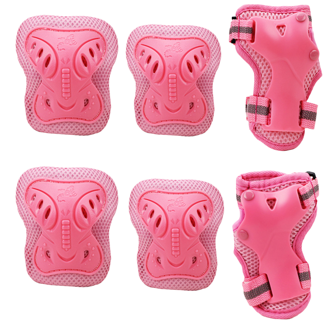 Sport Safety Protective Gear Guard Butterfly Elbow Wrist Knee Pads for Children Skateboard Skating Cycling Riding Blading Protective Set of 6pcs - Pink