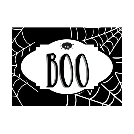 Boo Halloween Signs (Boo Print Spider Spiderweb Webs Picture Black and White Scary Halloween Seasonal Decoration Sign Aluminum)