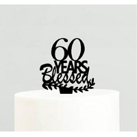 60th Birthday / Anniversary Blessed Years Cake Decoration Topper