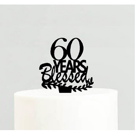 60th Birthday / Anniversary Blessed Years Cake Decoration Topper - Cake Decorations For 60th Birthday