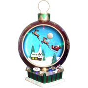 Fraser Hill Farm Indoor/Outdoor Oversized Christmas Decor w/ Long-Lasting LED Lights, 34.5-In. Musical Santa and Flying Sleigh Ornament in Red