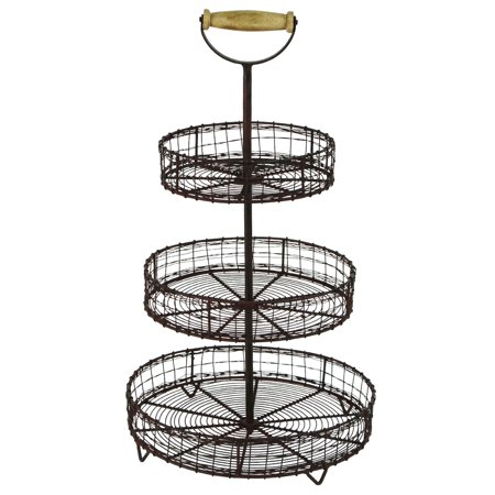 Treasure Gurus Antique Style Metal Wire 3 Tier Rack Display Stand Basket Rustic Farmhouse Decor