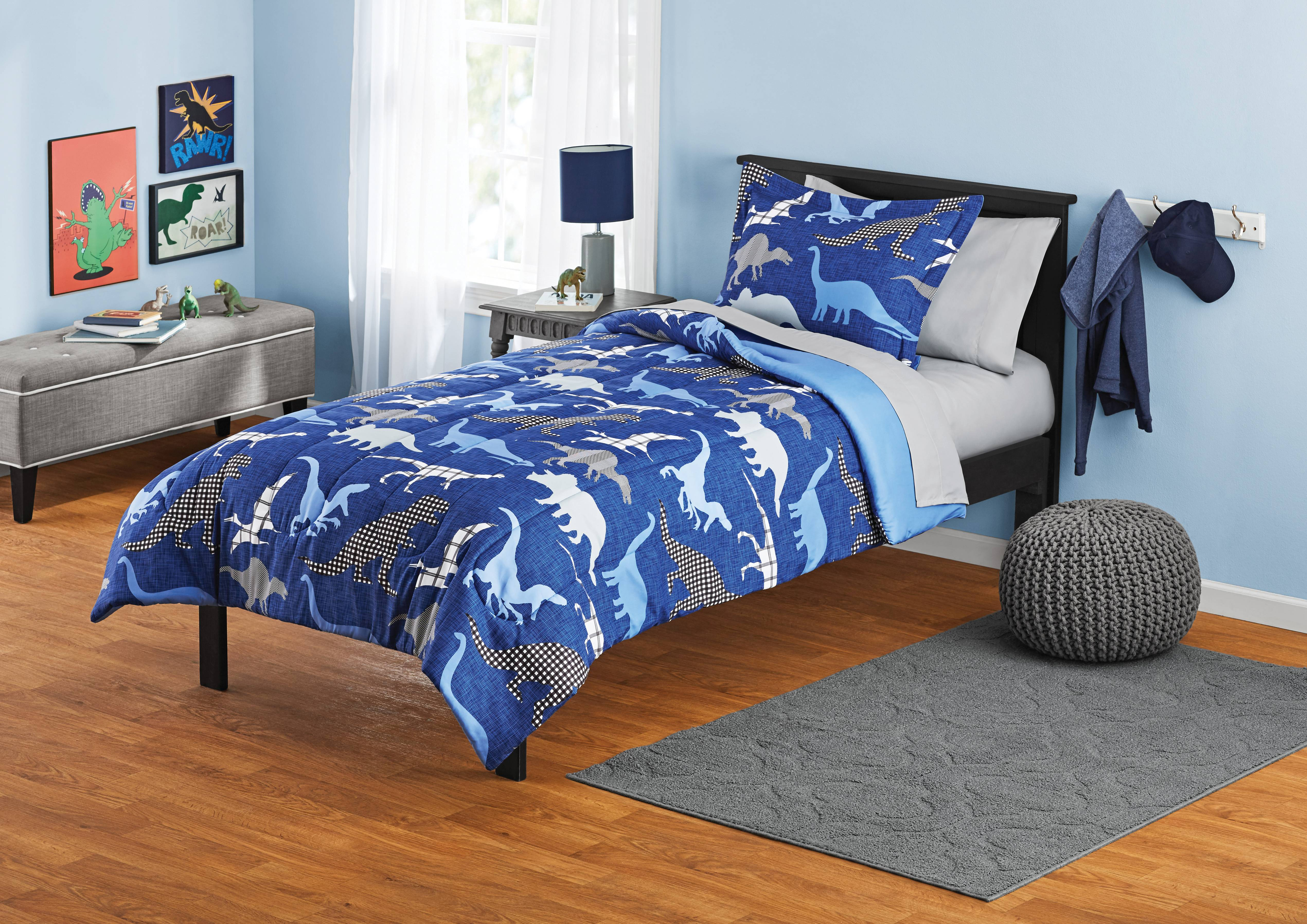 Your Zone Blue Dinosaurs Bed in a Bag Kids Bedding Set ...