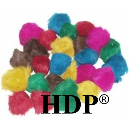 - HDP Real Fur Balls 2-2.5 inches each Cat Toys Size:Pack_of_24