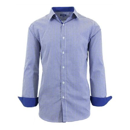 Mens Long Sleeve Gingham & Checkered Dress Shirts