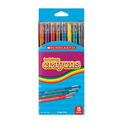Scholastic Twist-Up Crayons, Assorted Colors, Pack Of 8