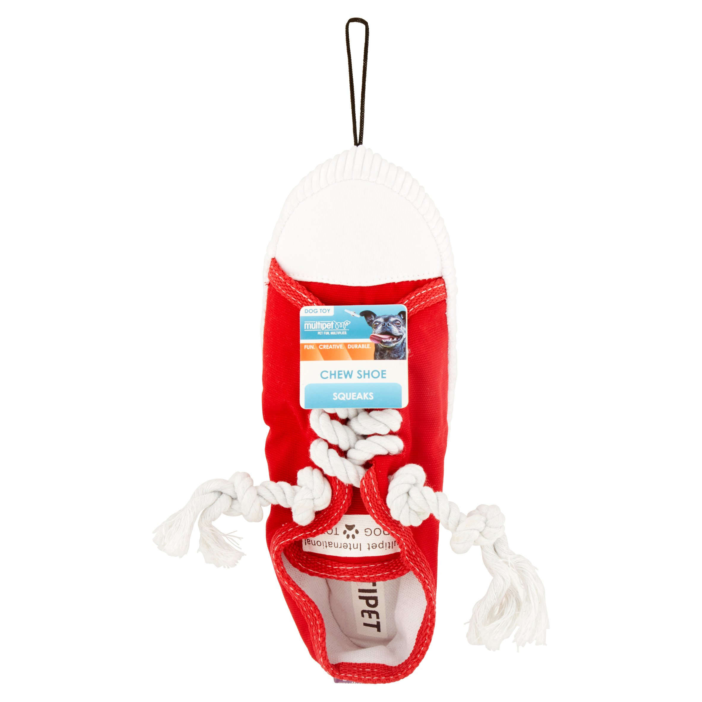 Multipet Plush Shoe Dog Toy, Red