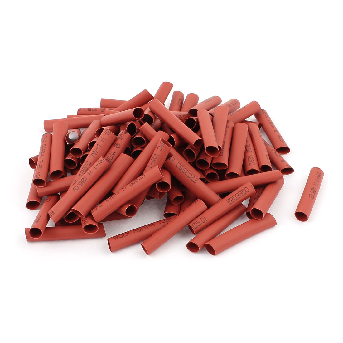 100pcs 5mm Dia Polyolefin Heat Shrink Tubing Tube Wire Wrap Sleeve 35mm Red