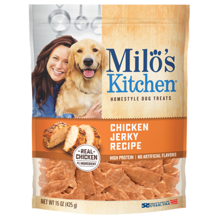 - Milo's Kitchen Chicken Jerky Strips Dog Treats, 15-Ounce Bag