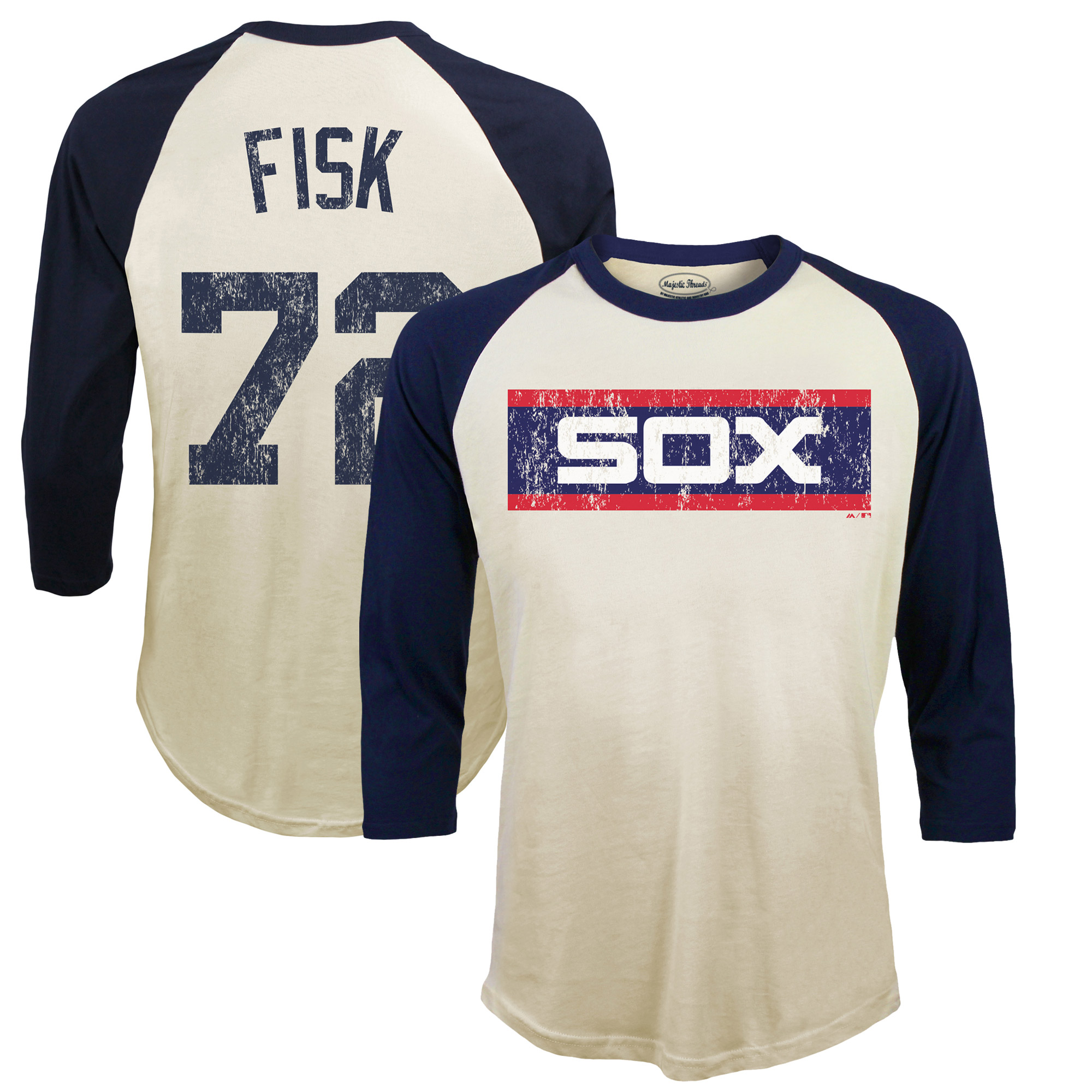 Carlton Fisk Chicago White Sox Majestic Threads Softhand Cotton Cooperstown 3/4-Sleeve Raglan T-Shirt - Cream